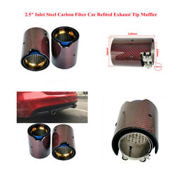 Glossy Carbon Fiber Auto Modified Exhaust Tail Pipe Muffler End Tip 2.5 Inlet