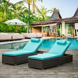 2pcs Outdoor Rattan Wicker Pool Chaise Lounger Chair Patio Recliner W/side Table