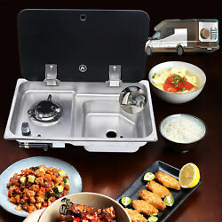 Boat Caravan 1 Burner Gas Stove Hob And Sink Combo With Glass Lid + Faucet Cook