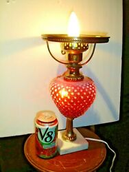 Fenton Cranberry Hobnail Opalescent Lamp Base, No Shade Gwtw