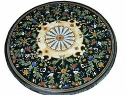 54 Inches Marble Dining Table Top Inlay Floral Design Restaurant Table For Hotel