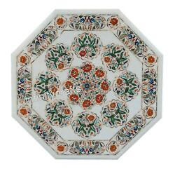 36 Inch Marble Dining Table Top Inlay Multi Color Stones Royal Look Coffee Table