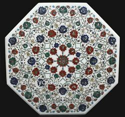 36 Inches Marble Dining Table Top Inlay Multi Color Stone Hallway Table For Home