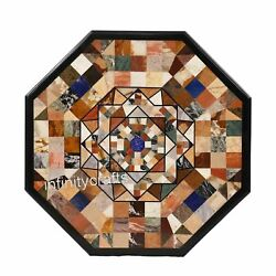 42 Inches Marble Dining Table Top Inlay Multi Color Stones Center Table For Home