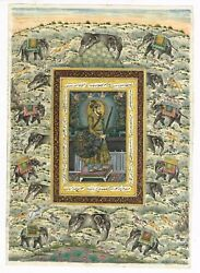 Mughal Painting Of Emperor Shahjahan With Dhal And Gun Finest Artwork On Paper