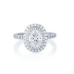 Brilliant Cut 1.93 Ct Real Diamond 14k Solid White Gold Engagement Ring Size 6 7
