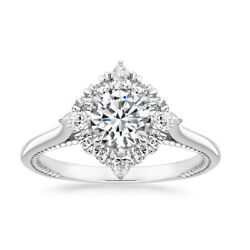 Beautiful Cut 0.98 Ct Real Diamond 14k Solid White Gold Wedding Rings Size 5 6 7