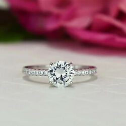 Real Diamond Round Cut 1.05 Ct Wedding Solitaire Rings 14k White Gold Size 5 6 7