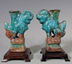 China Pair Turquoise Green Foo Dog Lion Joss Candle Stick Holders 12-13th C.