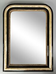 Antique 19th Century French Louis Philippe Black Lacquered Gilt Wood Mirror 32h