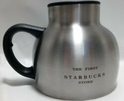 The First Starbucks Store Stainless Steel 16 Oz Chubby Travel Coffee Mug Lid