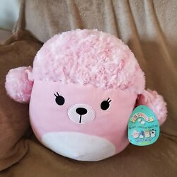 """New Squishmallow 12"""" The Pink Poodle Plush Pillow Toy Nwt"""