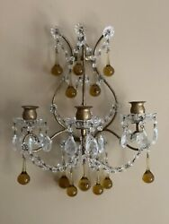 PAIR Antique Crystal Beaded Italian French Wall Sconces Candelabras 3 Arm