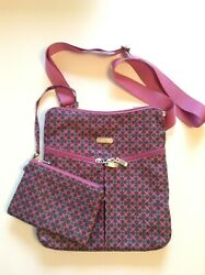 Baggallini Cross Body Bag Travel Pink Multicolor w Matching Pouch 11quot;x10quot; EUC $26.00