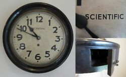 Antique Wall Clock Large Face Scientific Clock Mfg. Co. Wood Bob Rare And Works