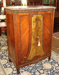 Gorgeous French Marble Top Paint Decorated High Chest Of Drawers Dresser