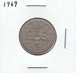 1969 Great Britain United Kingdom England 5 New Pence - Circulated Coin