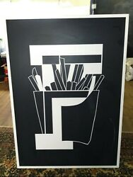 Huge Vintage Early 1980's Mcdonald's Abstract French Fries Sign 43x 5' 60 Ex