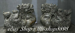 19old China Natural Old Jade Fengshui Dragon Tortoise Turtle Animal Pair Statue