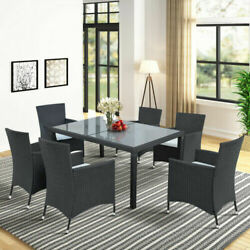 Us 7pcs Outdoor Wicker Dining Table Set Patio Rattan Furniture W/6 Cushion Chair