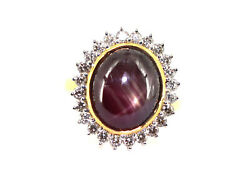 14k Yellow Gold Ring Studded With Natural Star Ruby And Natural Diamond