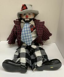Vintage Porcelain Clown Head, Hand And Shoes With Cloth Body Doll 17.5l X 12w