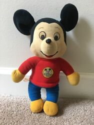 Vintage Knickerbocker Mickey Mouse Pull String Toy Plush Multicolor