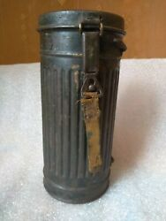 Original Named Wwii German Wehrmacht Soldier Gas Mask Canister Great Condition