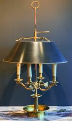 Large 19th Century French Gilt Bronze Four Light Bouillotte Griffin Table Lamp