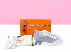 New Hermes H Gray Bouncing 43 10 Leather Sneaker Shoes Loafers Slipper Daydream