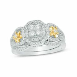 1/2ct Quad Diamond Double Octagonal Frame Flower Bridal Set In 10k Two-tone Gold