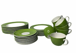 Crate Barrel Hamptons Green White Set Of 31 Of 32 Piece Dinnerware Service For 8