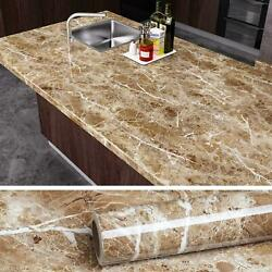 Brown Marble Contact Paper Peel And Stick Wallpaper Waterproof 15.8x118