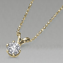 4450 Yellow Gold Solitaire Diamond Pendant Necklace 0.60 Ct 14k I1 50623278