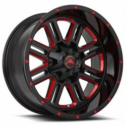 Set4 American Off-road Wheels A106 20x10 5x127 -24 Black Milled Red