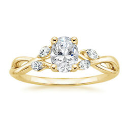 Real Diamond Anniversary Ring Oval Cut 0.80 Ct 14k Yellow Gold Size Selective