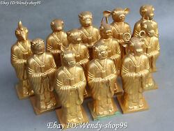 9 Collect Chinese Ancient Folk Bronze 12 Zodiac Year Animal Set Stand Statue