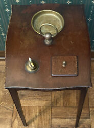 Vintage Chairside Smoke Stand Table With Built In Holder Brass Lighter Ashtray