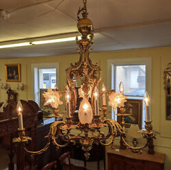 Stunning French Rococo Style Brass And Frosted Glass 13 Light Chandelier 44 Tall