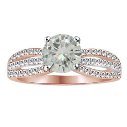 3.25 Ct Round Genuine Moissanite Sterling Silver Bridal Engagement Ring