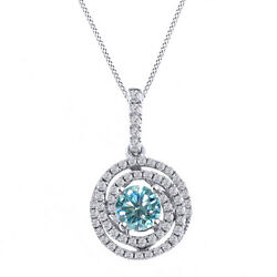3.25 Ct Light Blue Moissanite Sterling Silver Swirl Solitaire Pendant Necklace