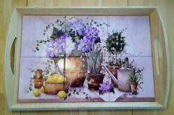 Annie Lapoint Ceramic Tile And Maplewood Floral Garden Serving Tray W/handles Nm