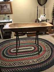 Antique- Primitive Rare Wooden Dough Bowl Trencher With Stand