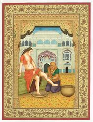 Mughal Miniature Painting Of Mughal Empress Getting Her Feet Massaged By Maid