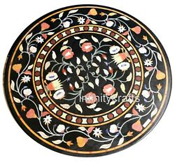40 Inches Marble Dining Table Top Inlay Multi Color Gemstone Sofa Table For Home