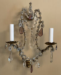 PAIR Antique Amethyst Crystal Beaded Italian French Wall Sconces Maison Jansen
