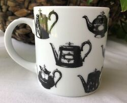 Paul Cardew Antique Pewter Coffee And Teapots Black And White Mug - Made In England