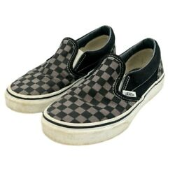 Vans Off The Wall Kids Size 3 Black Gray Check Slip On Shoes 751505