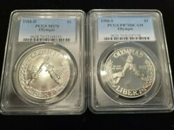 Pcgs 1988-d Ms70 And 1986-s Pr70 Dcam Olympic 90 Silver Dollars