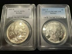 Pcgs 2001-d Ms70 And 2001-p Pr70 Dcam Buffalo 90 Silver Dollars
